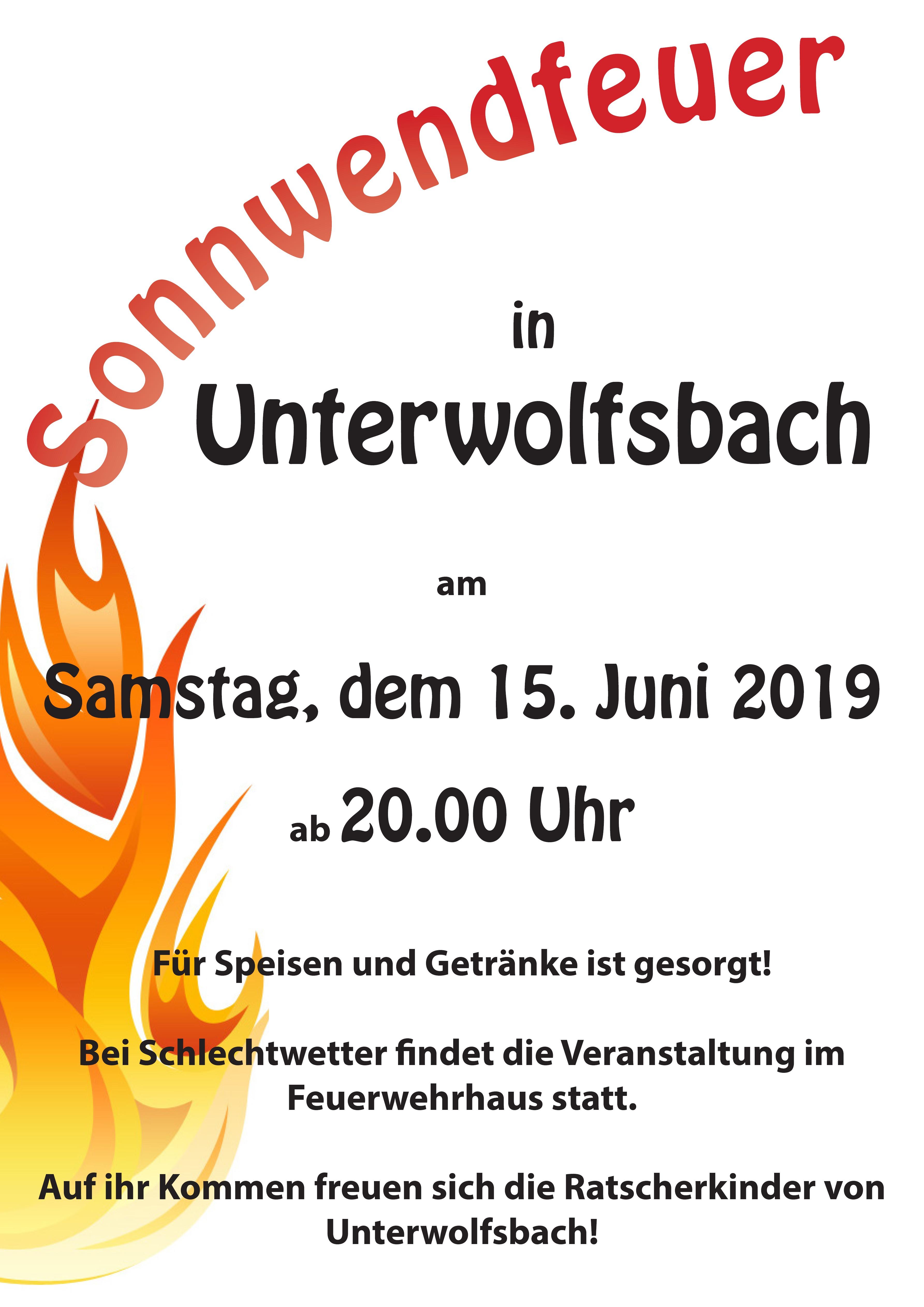 Sonnwendfeuer in Unterwolfsbach
